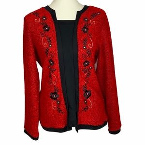 Cathy Daniels Red Pull Over Sweater